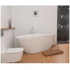Omnires Marble+ vonia iš lieto marmuro Barcelona blizgi balta, 156*71 cm