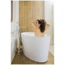 Omnires Marble+ vonia iš lieto marmuro Roma blizgi balta, 159*72 cm