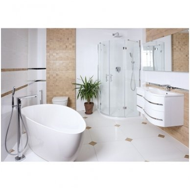 Omnires Marble+ vonia iš lieto marmuro Barcelona XL blizgi balta, 170*77 cm 2