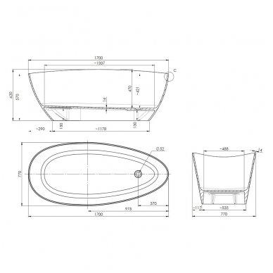 Omnires Marble+ vonia iš lieto marmuro Barcelona XL blizgi balta / juoda, 170*77 cm 3