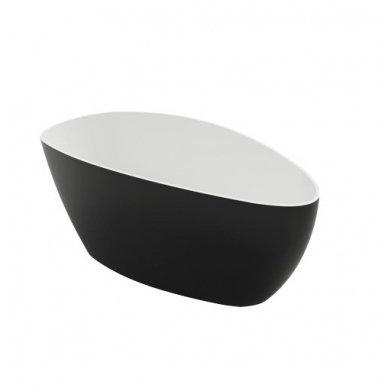 Omnires Marble+ vonia iš lieto marmuro Barcelona XL blizgi balta / juoda, 170*77 cm