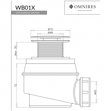 Omnires vonios sifonas be persipylimo WB01XBL (juodos spalvos) 2