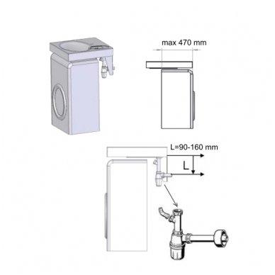 PAA CLARO akmens masės montuojamas virš skalbimo mašinos praustuvas 60x60cm 8