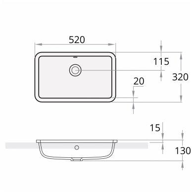 PAA Opus Silk In akmens masės įleidžiamas praustuvas 520x320 mm 2