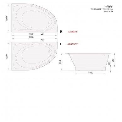 PAA Tre Grande 1700x1000mm lieto akmens vonia 4