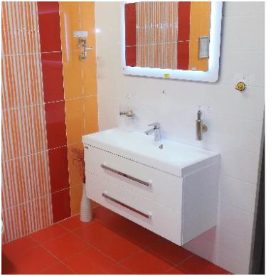 Pakabinama vonios spintelė CUBE su lieto akmens praustuvu 11