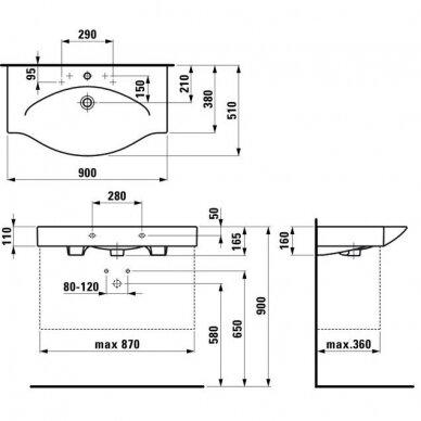 Pakabinamas arba baldinis praustuvas Laufen Palace 900x510cm 2