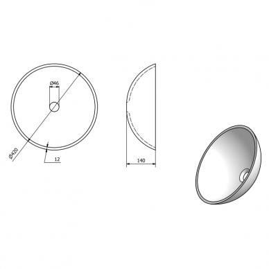 Pastatomas stiklinis praustuvas SKIN su aukštu juodu maišytuvu Tres Study Exclusive 7