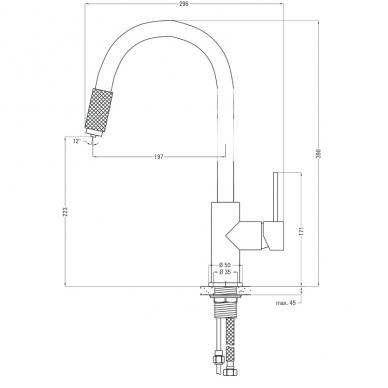Plautuvės maišytuvas su filtruoto vandens jungtimi Deante Aster 3