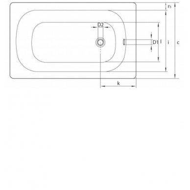 Plieninė vonia 120x70x38cm  V120x70 2