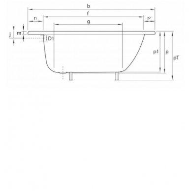 Plieninė vonia 120x70x38cm  V120x70 3