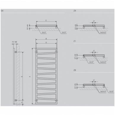 Plieninės kopetėlės Terma ZigZag 9