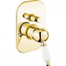 Potinkinis dušo/vonios maišytuvas Kirke aukso spalvos su balta rankenėle