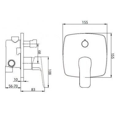 Potinkinė dušo sistema Cube Way su stacionaria 25 cm metaline dušo galva 4