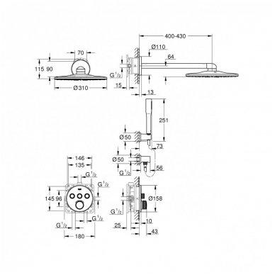 Potinkinė dušo sistema Grohe Smart Control su metaline 31 cm skersmens galva 5