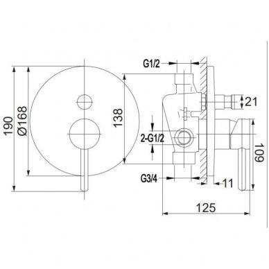 Potinkinė dušo sistema Omnres SYS Y22 7