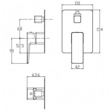 Potinkinė dušo sistema su snapu voniai Omnires Parma SYSPMW01CR 4