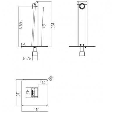Potinkinė dušo sistema su snapu voniai Omnires Parma SYSPMW01CR 3