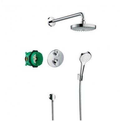 Potinkinė dušo sistema su termostatiniu maišytuvu Hansgrohe Croma Select E
