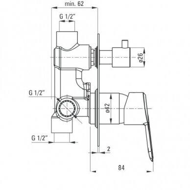 Potinkinė juoda vonios sistema Deante Arnika 8