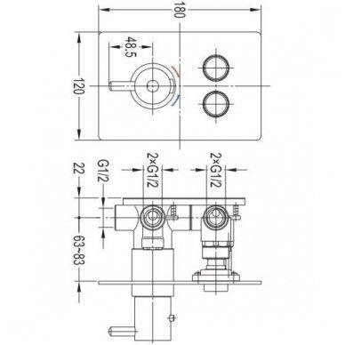 Potinkinė termostatinė dušo sistema Omnires SYSY40GCCR 7
