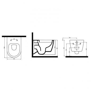 Potinkinio wc rėmo Grohe komplektas su pakabinamu klozetu Havana Rimless su slim lėtaeigiu dangčiu 8