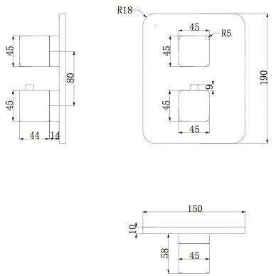 Potinkinis termostatinis vonios/dušo maišytuvas Omnires PARMA PM7436 CR 2