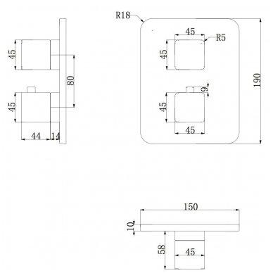 Potinkinis termostatinis vonios/dušo maišytuvas Omnires Parma PM7436 CRB 2