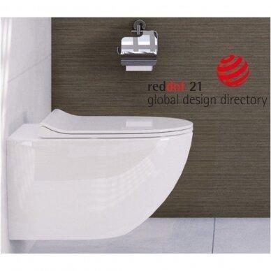 Potinkinis wc rėmas WERIT JOMO su juodu mygtuku ir klozetu Vitra Sento Rimless 2