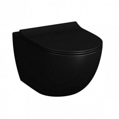 Potinkinis wc rėmas WERIT JOMO su juodu mygtuku ir juodu klozetu Vitra Sento Rimless 2