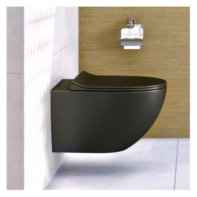 Potinkinis wc rėmas WERIT JOMO su juodu mygtuku ir juodu klozetu Vitra Sento Rimless 3
