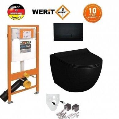 Potinkinis wc rėmas WERIT JOMO su juodu mygtuku ir juodu klozetu Vitra Sento Rimless