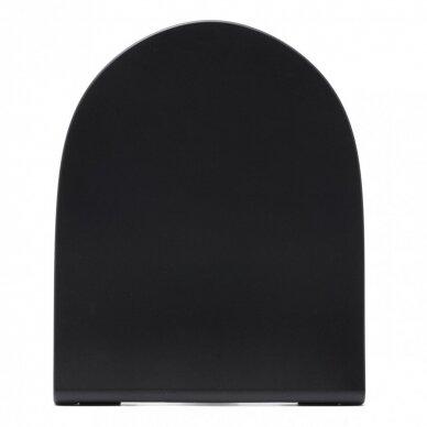Potinkinis wc rėmas WERIT JOMO su juodu mygtuku ir juodu klozetu Vitra Sento Rimless 10