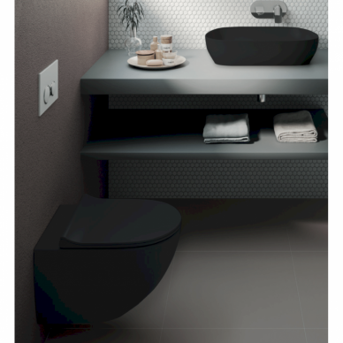 Potinkinis wc rėmas WERIT JOMO su juodu mygtuku ir juodu klozetu Vitra Sento Rimless 13