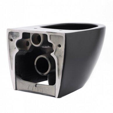 Potinkinis wc rėmas WERIT JOMO su juodu mygtuku ir juodu klozetu Vitra Sento Rimless 14