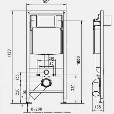 Potinkinis wc rėmas WERIT JOMO su juodu mygtuku ir klozetu Vitra Sento Rimless 10