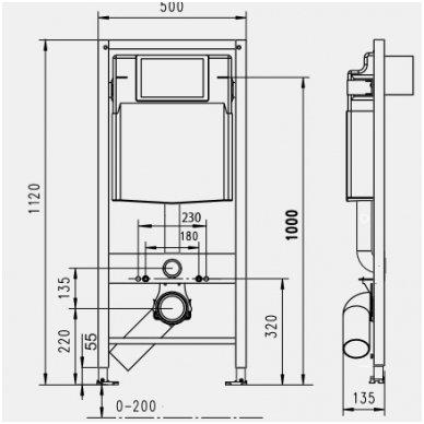 Potinkinis wc rėmas WERIT JOMO su mygtuku 2