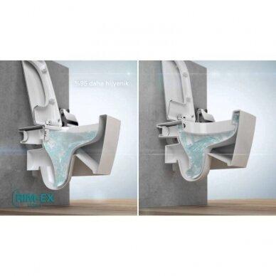 Potinkinis wc rėmas WERIT JOMO su chromuotu mygtuku ir klozetu Vitra Sento Rimless 7