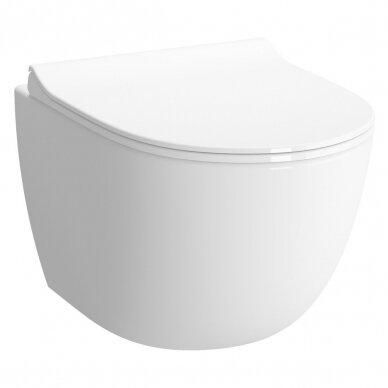 Potinkinis wc rėmas WERIT JOMO su chromuotu mygtuku ir klozetu Vitra Sento Rimless 5