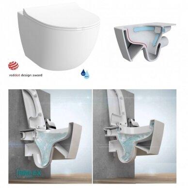 Potinkinis wc rėmas WERIT JOMO su chromuotu mygtuku ir klozetu Vitra Sento Rimless 6