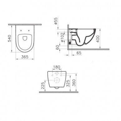 Potinkinis wc rėmas WERIT JOMO su chromuotu mygtuku ir klozetu Vitra Sento Rimless 9