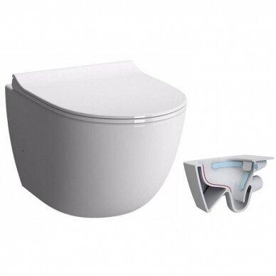 Potinkinis wc rėmas WERIT JOMO su chromuotu mygtuku ir klozetu Vitra Sento Rimless 2