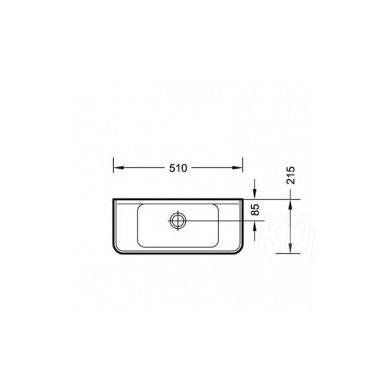 Praustuvas Small 51x22cm su skyle maišytuvui dešineje 2