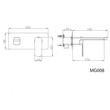 Praustuvo maišytuvas iš sienos MIXONA MG008 2