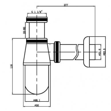 Praustuvo sifonas Sapho chromo spalvos CV1006 2