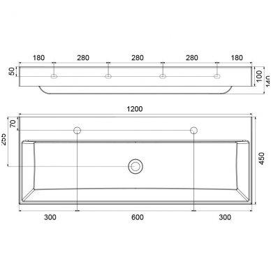 Ravak Natural Duo pakabinamas ar baldinis praustuvas 1200x450 3