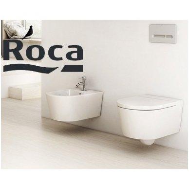 Roca Inspira round pakabinamas klozetas su Rimless technologija ir lėtaeigiu dangčiu 3