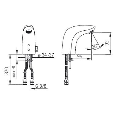 Sensorinis maišytuvas praustuvui Oras su lanksčiomis jungtimis, 6V 2