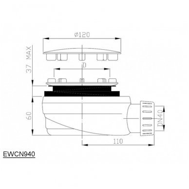 Žemas sifonas dušo padėklui EWCN940 4