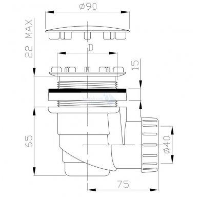 Sifonas dušo padėklui Sapho 60/40mm WJ1005 2